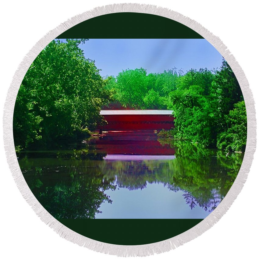 Sach's Round Beach Towel featuring the photograph Sachs Covered Bridge - Gettysburg Pa by Bill Cannon