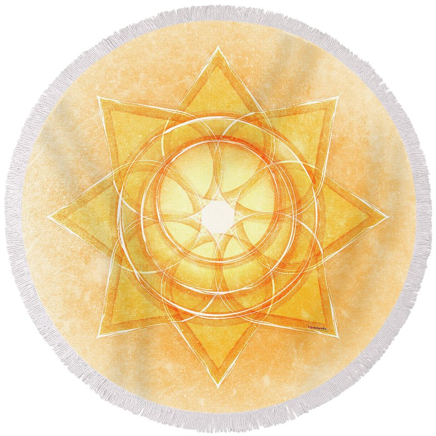 Gold Round Beach Towel featuring the digital art Sacral Chakra Series Two by Experimenda