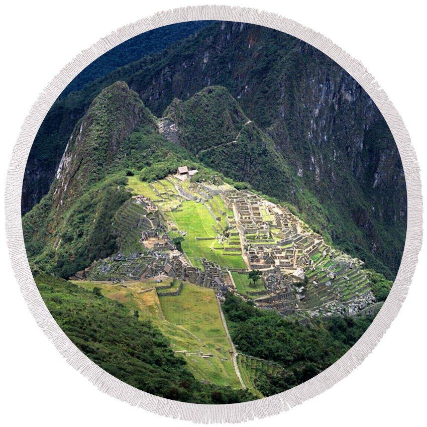 Machu Picchu Round Beach Towel featuring the photograph Sacred City Of Machu Picchu by James Brunker