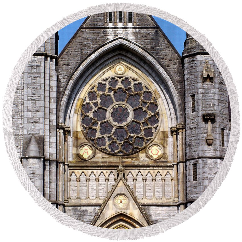 Ireland Round Beach Towel featuring the photograph Sacred Heart Church Detail Roscommon Ireland by Teresa Mucha