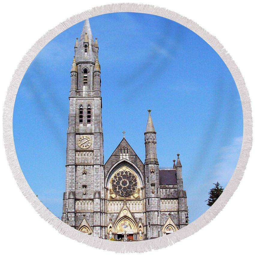 Ireland Round Beach Towel featuring the photograph Sacred Heart Church Roscommon Ireland by Teresa Mucha