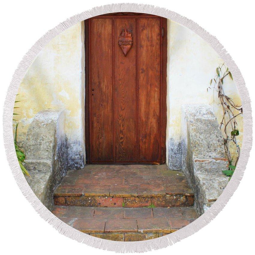 Door Round Beach Towel featuring the photograph Sacred Heart Door by Carol Groenen
