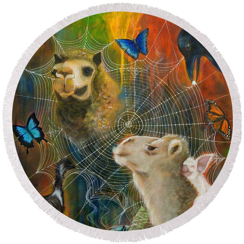 Animals Round Beach Towel featuring the painting Sacred Journey by Deborha Kerr