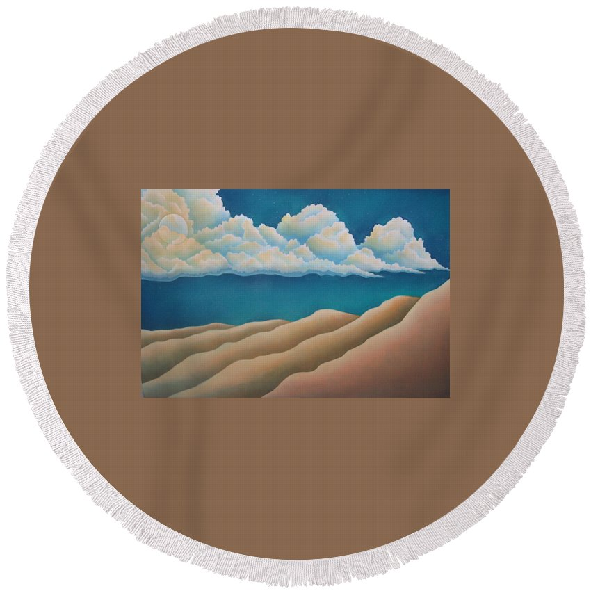 Landscape Round Beach Towel featuring the painting Sacred Night by Jeniffer Stapher-Thomas