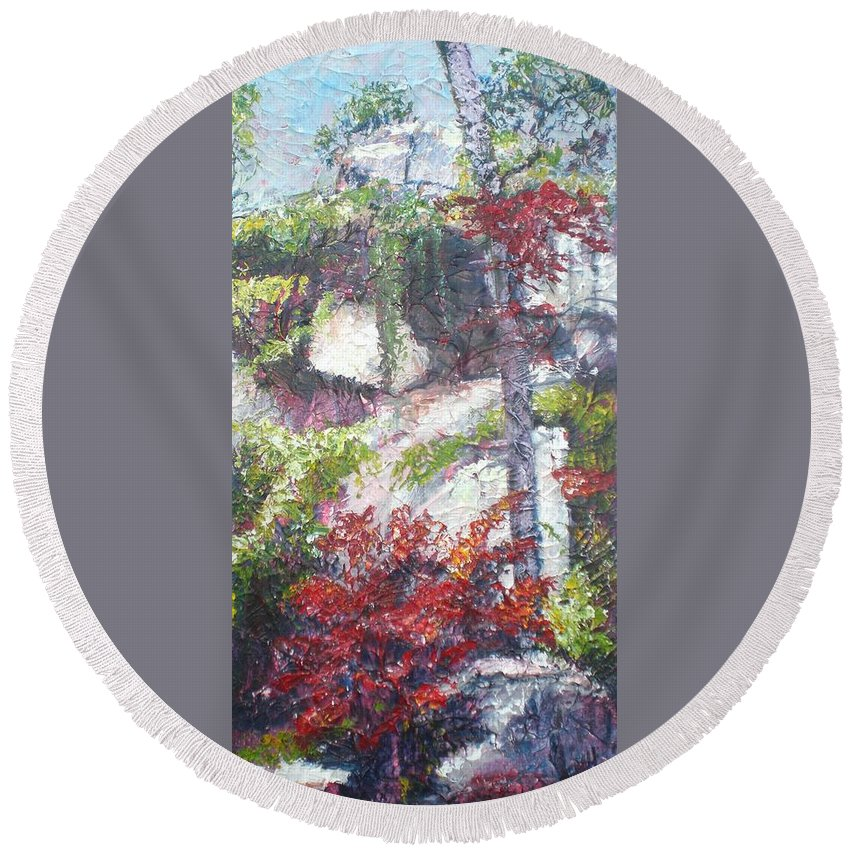 Landscape Round Beach Towel featuring the painting Sacred Peace by Sheila Holland