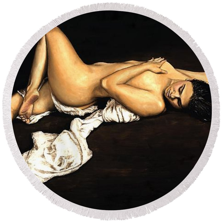 Nude Round Beach Towel featuring the painting Sacred by Richard Young