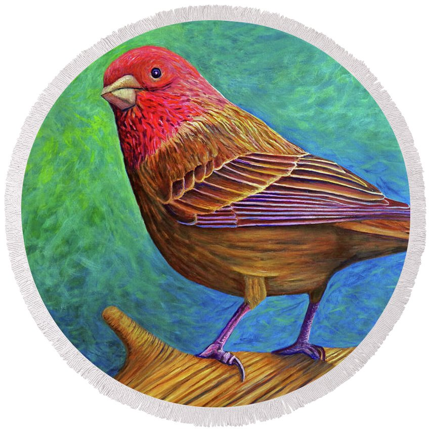 Bird Round Beach Towel featuring the painting Sacred Space by Brian Commerford