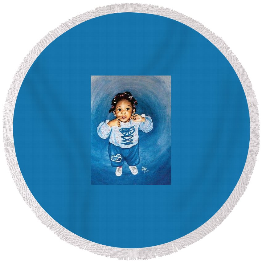 Child Round Beach Towel featuring the pastel Sadie by Gale Cochran-Smith
