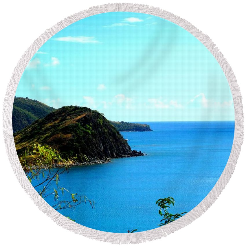 St Kitts Round Beach Towel featuring the photograph Safe Harbor by Ian MacDonald