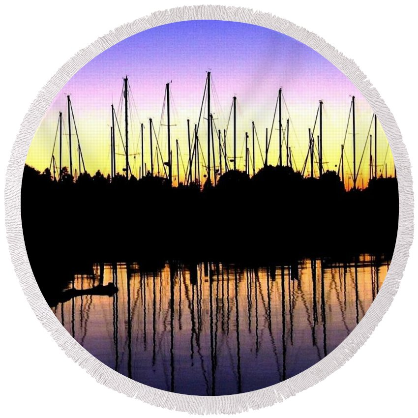 Sailboats Round Beach Towel featuring the photograph Safe Haven by Will Borden