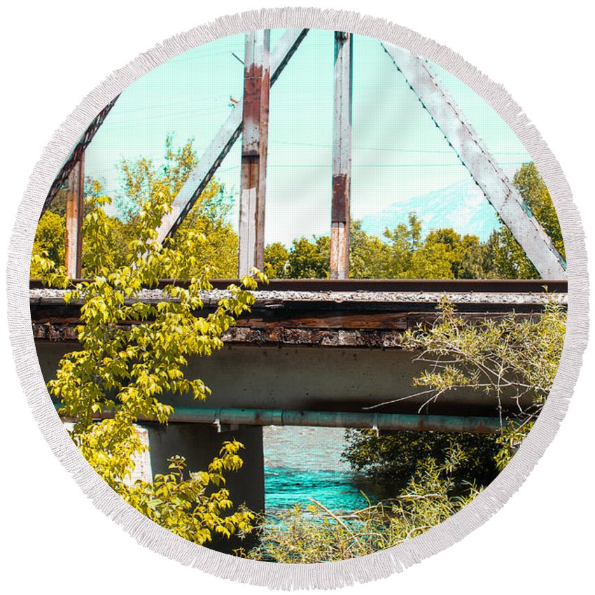 Railroad Round Beach Towel featuring the photograph Safe Travels by Adam Baier