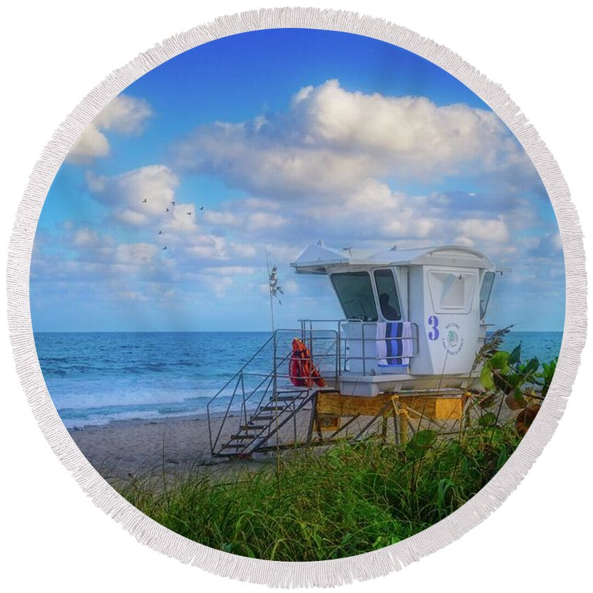 Aqua Round Beach Towel featuring the photograph Safe Waters by Lynn Bauer