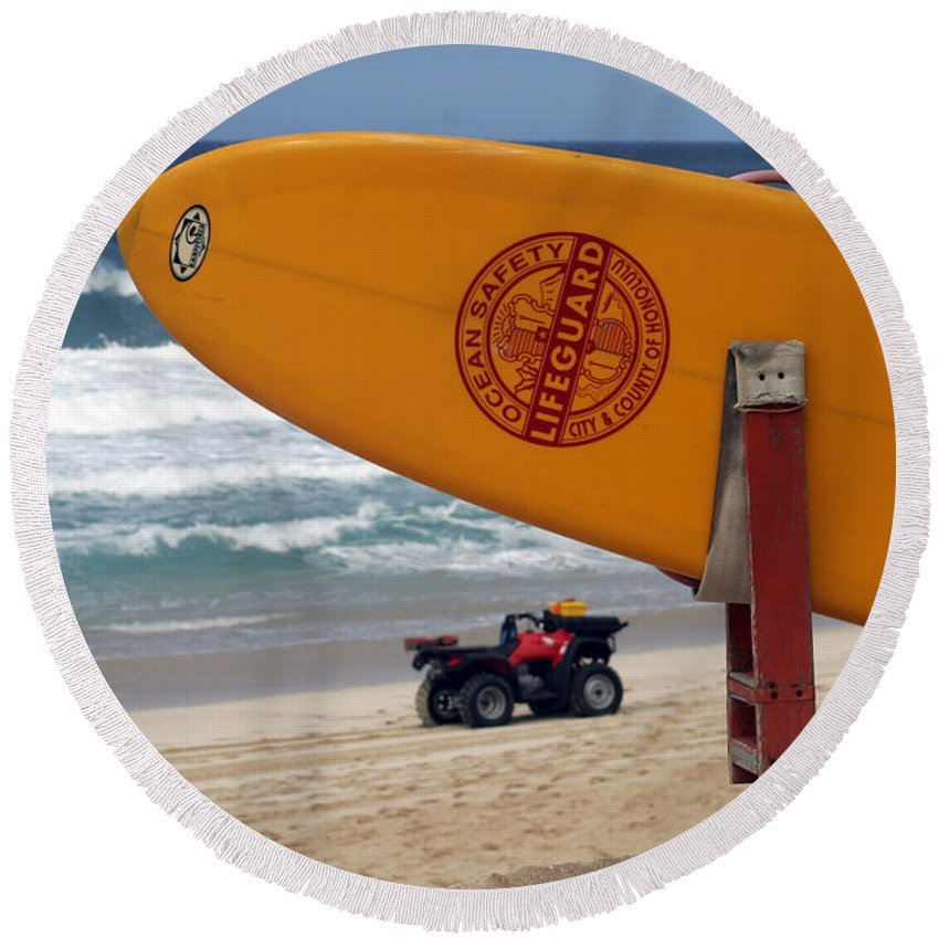 Round Beach Towel featuring the photograph Safety First, Oahu by Kenneth Campbell