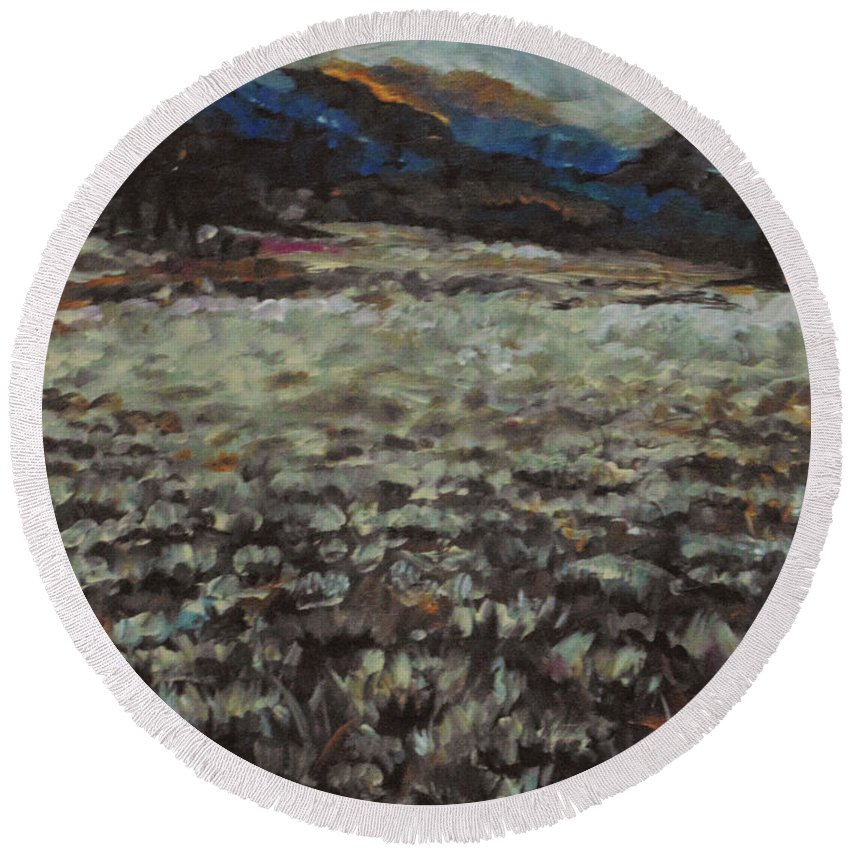 Landscape Round Beach Towel featuring the painting Sage Song by Susan Moore
