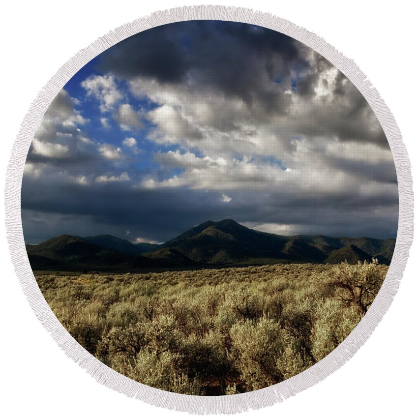 Sage Round Beach Towel featuring the photograph Sagebrush Before Sangre De Cristo Mountains by Robert Woodward