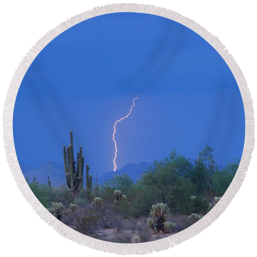 Lightning Round Beach Towel featuring the photograph Saguaro Desert Lightning Strike Fine Art by James BO Insogna