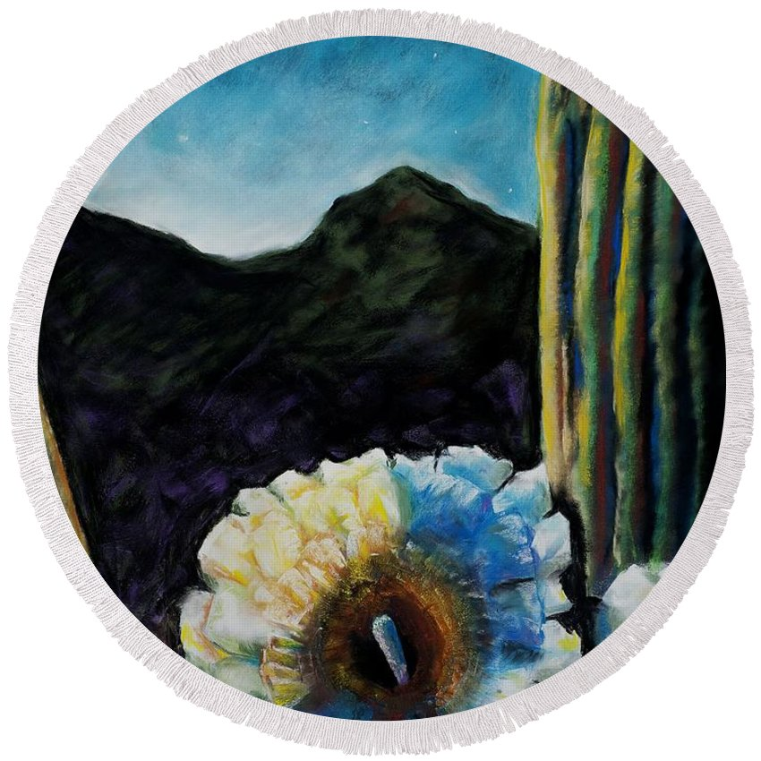 Desert Round Beach Towel featuring the painting Saguaro In Bloom by Frances Marino