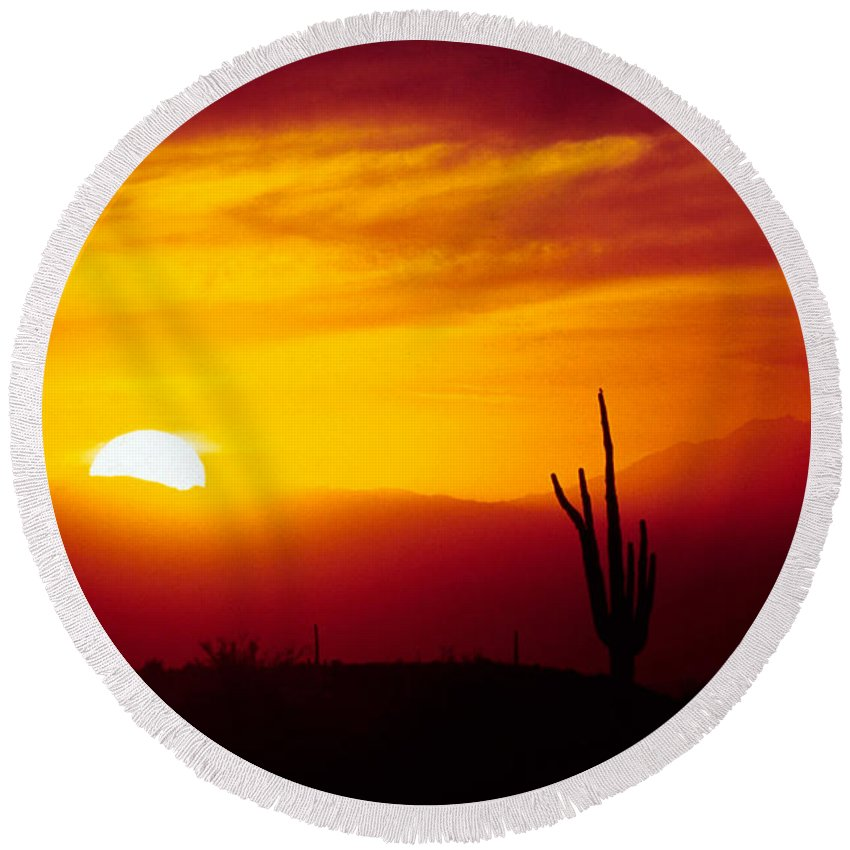 Arizona Round Beach Towel featuring the photograph Saguaro Sunset by Randy Oberg