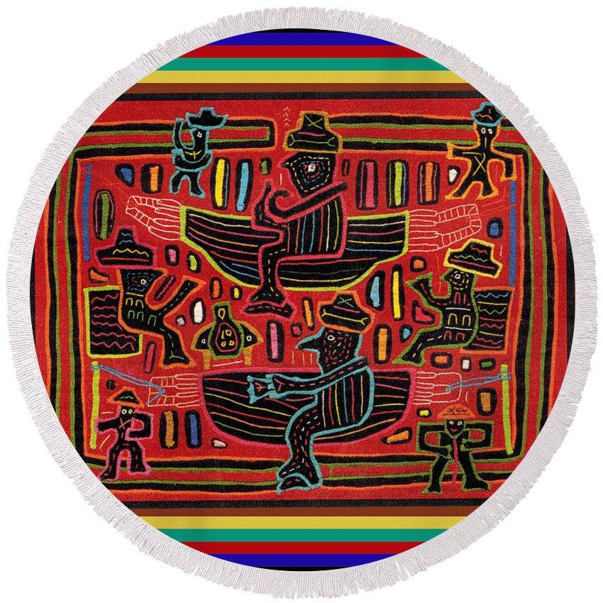 San Blas Kuna Mola Design Round Beach Towel featuring the digital art Sahilas And Argars In Their Hammocks by Vagabond Folk Art - Virginia Vivier