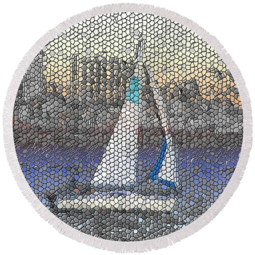 Sail Round Beach Towel featuring the photograph Sail At Sunset by Tim Allen