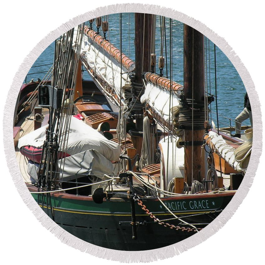 Boat Round Beach Towel featuring the photograph Sail Boat by Diane Greco-Lesser