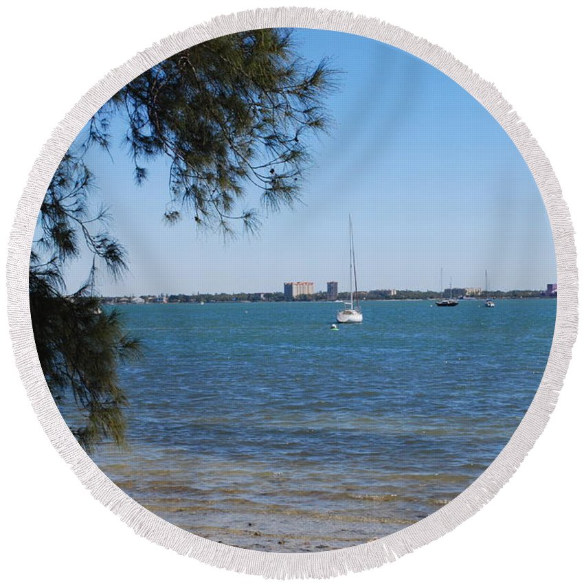 Sail Round Beach Towel featuring the photograph Sail Boat On Sarasota Bay by Gary Wonning