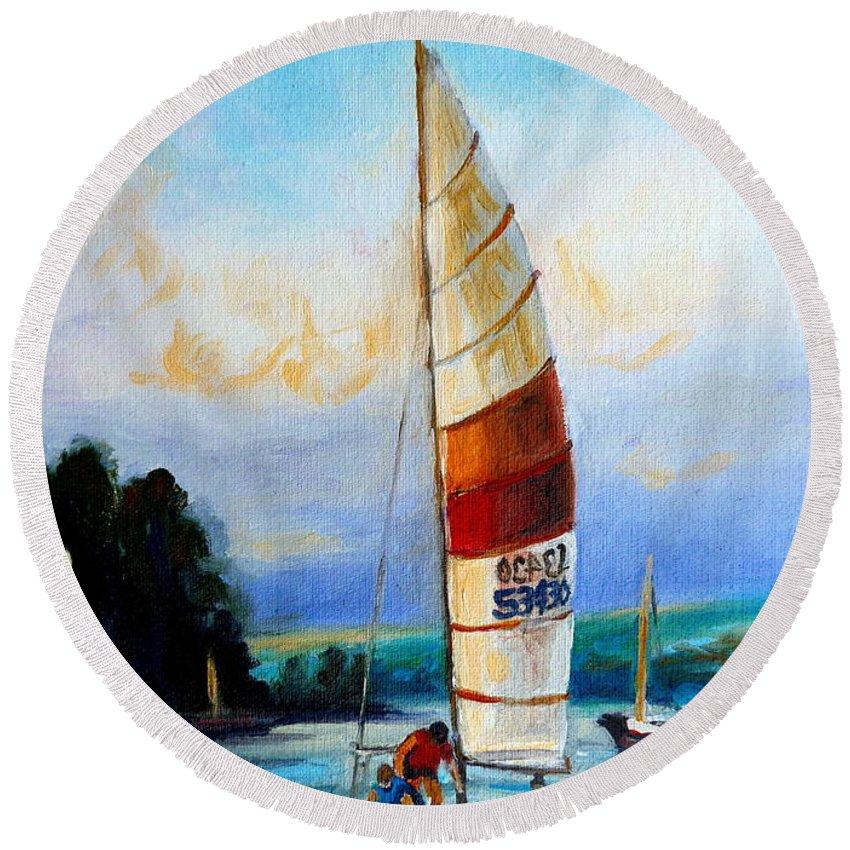 Sail Boats On The Lake Round Beach Towel featuring the painting Sail Boats On The Lake by Carole Spandau