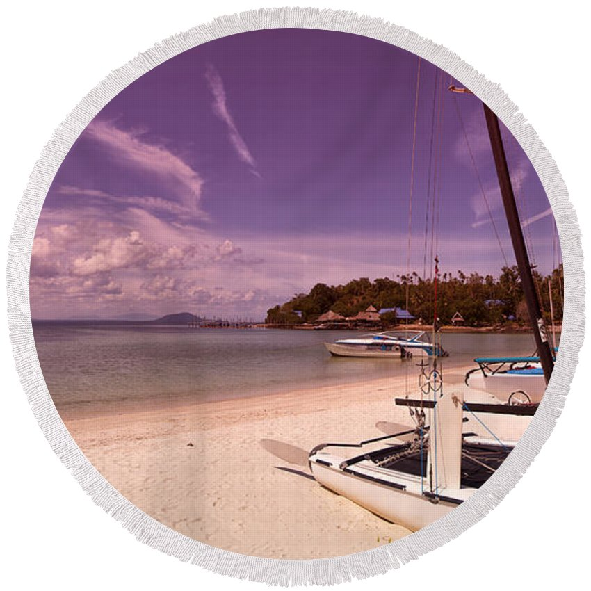 Koh Talu Round Beach Towel featuring the photograph Sail Boats On Tropical Beach by Sophie McAulay