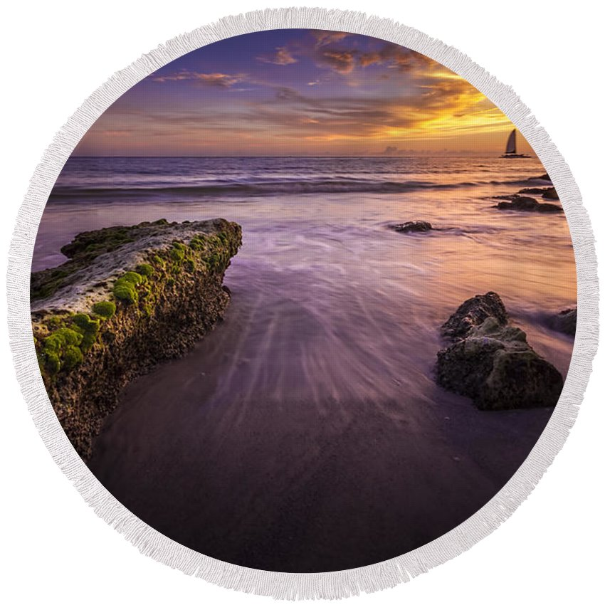 Intercoastal Pine Round Beach Towel featuring the photograph Sail Into The Sunset by Marvin Spates