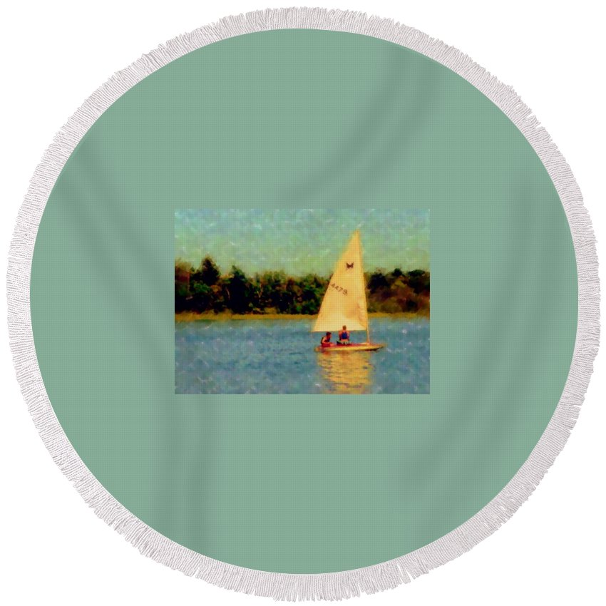 Sailboat Round Beach Towel featuring the digital art Sailboat by Anita Burgermeister