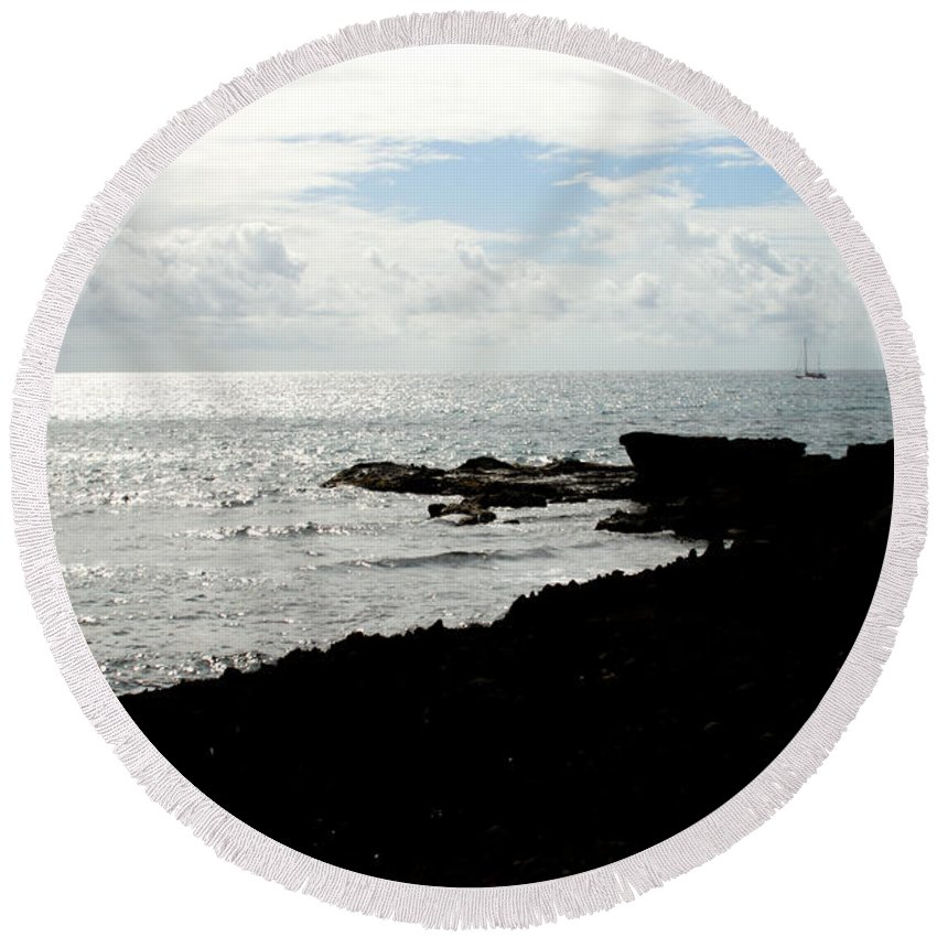 Sailboat Round Beach Towel featuring the photograph Sailboat At Point by Jean Macaluso