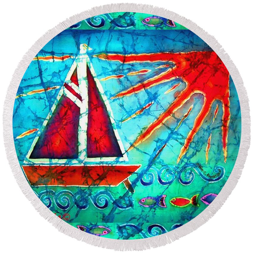 Sailboat Round Beach Towel featuring the painting Sailboat In The Sun by Sue Duda
