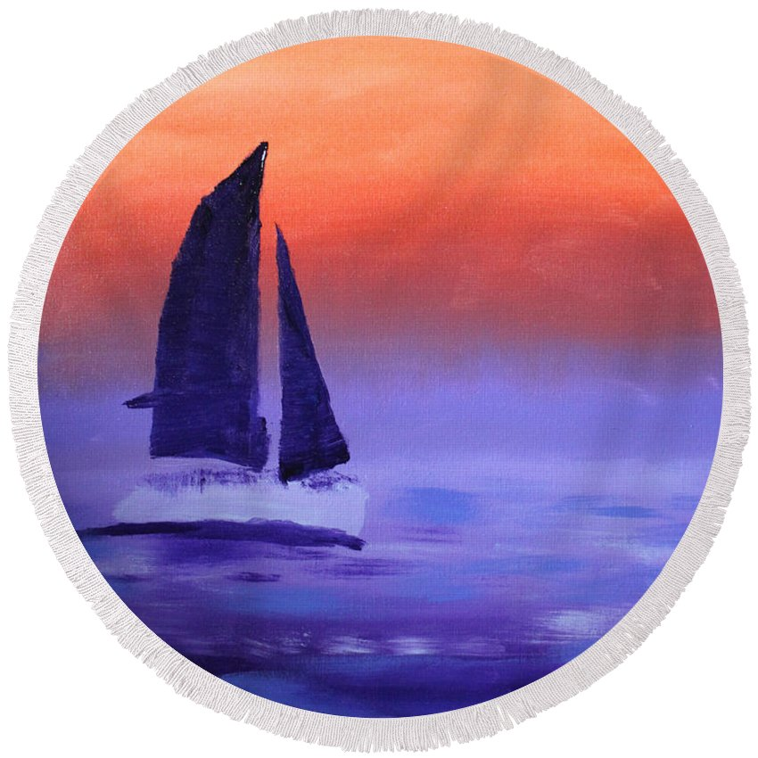 Sail Round Beach Towel featuring the painting Sailboat Large 2015 by Candy Bott