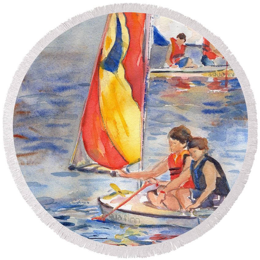 Sailboat Round Beach Towel featuring the painting Sailboat Painting In Watercolor by Maria's Watercolor