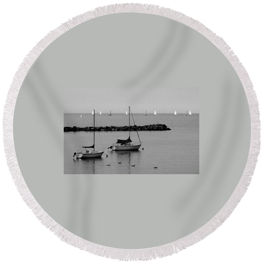 Sailboats Round Beach Towel featuring the photograph Sailboats And Ducks B-w by Anita Burgermeister