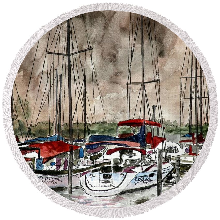 Watercolor Round Beach Towel featuring the painting Sailboats At Night by Derek Mccrea