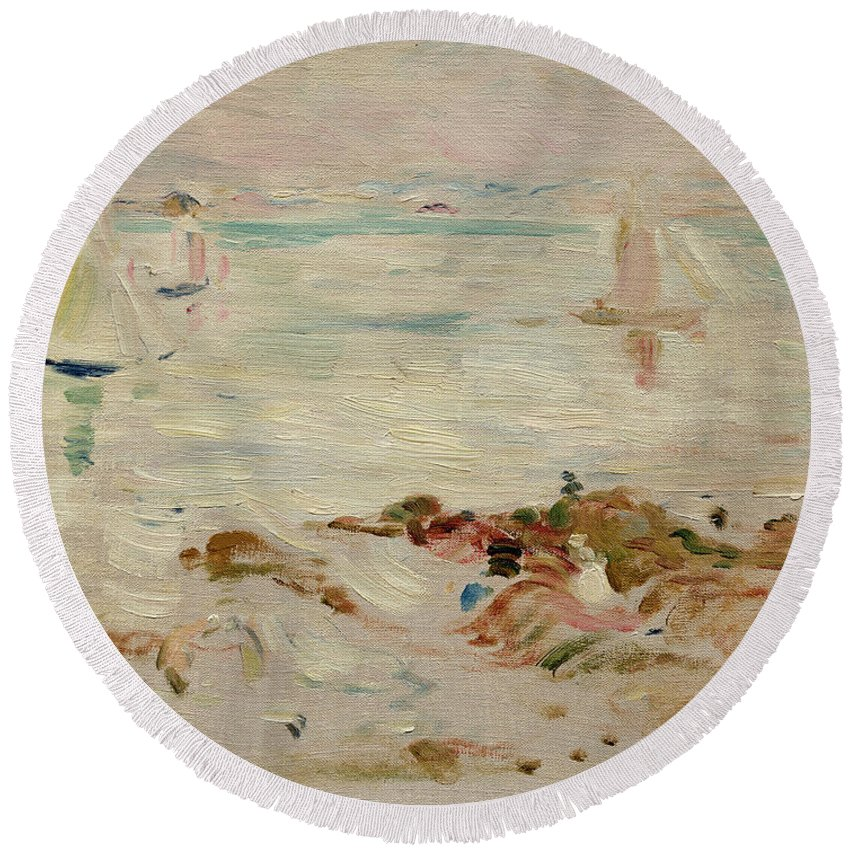 Sailboats Round Beach Towel featuring the painting Sailboats by Berthe Morisot