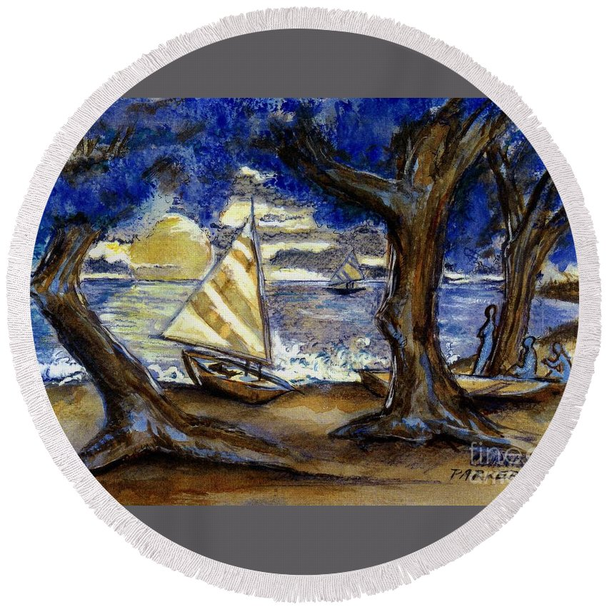 Beach Round Beach Towel featuring the painting Sailboats by Carliss Prosser