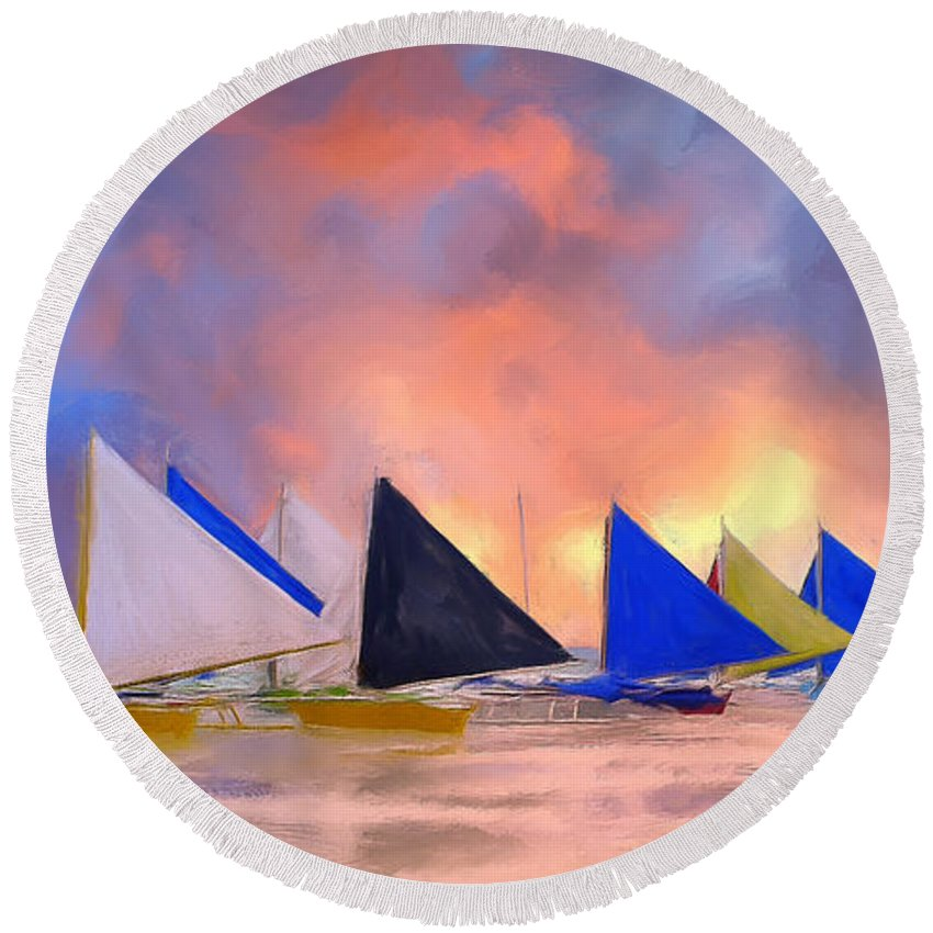 Sailboats Round Beach Towel featuring the painting Sailboats On Boracay Island by Dominic Piperata