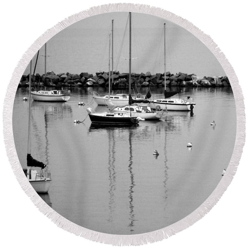 Sailboats Round Beach Towel featuring the photograph Sailboats Resting B-w by Anita Burgermeister