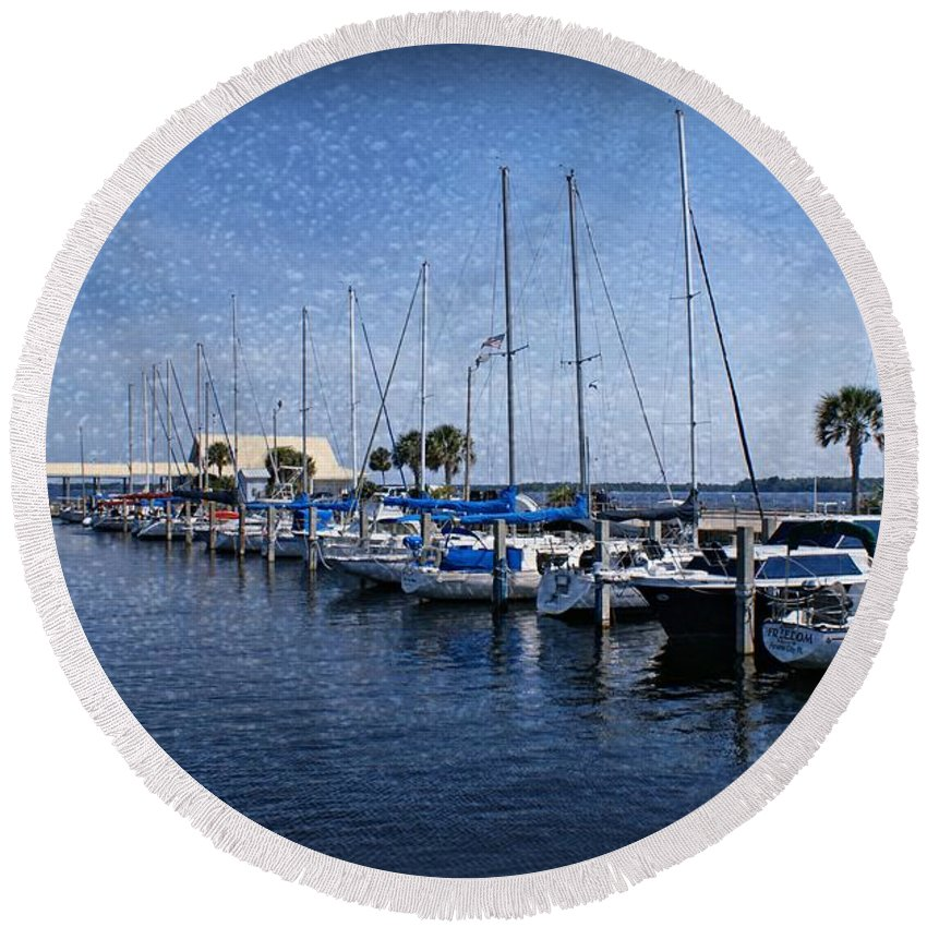 Sailboats Round Beach Towel featuring the photograph Sailboats by Sandy Keeton