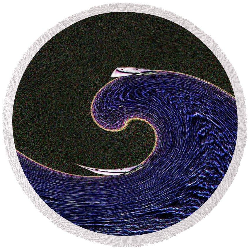 Sail Round Beach Towel featuring the digital art Sailin The Wave by Tim Allen