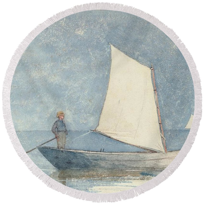 Boat Round Beach Towel featuring the painting Sailing A Dory by Winslow Homer
