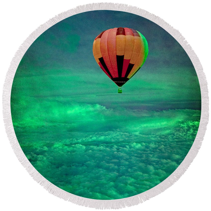 Hot Air Balloon Round Beach Towel featuring the photograph Sailing Above The Storm by Chris Lord