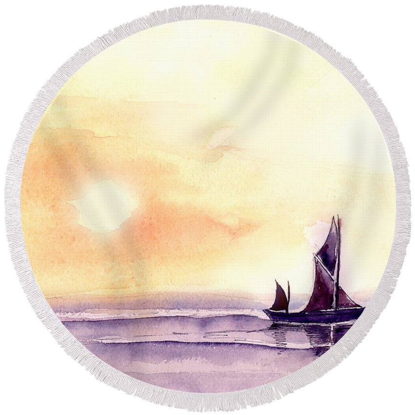 Nature Round Beach Towel featuring the painting Sailing by Anil Nene