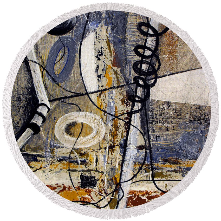 ruth Palmer Round Beach Towel featuring the painting Sailing Anyone by Ruth Palmer