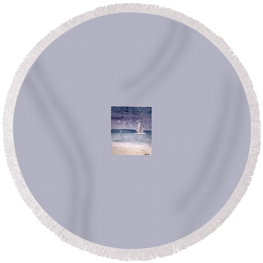 Watercolor Seascape Sailing Boat Landscape Painting Round Beach Towel featuring the painting SAILING AT NIGHT nautical painting print by Derek Mccrea