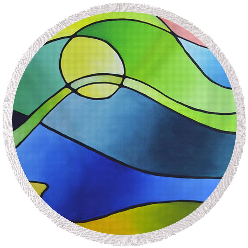 Geometric Round Beach Towel featuring the painting Sailing Away, Canvas Three by Sally Trace