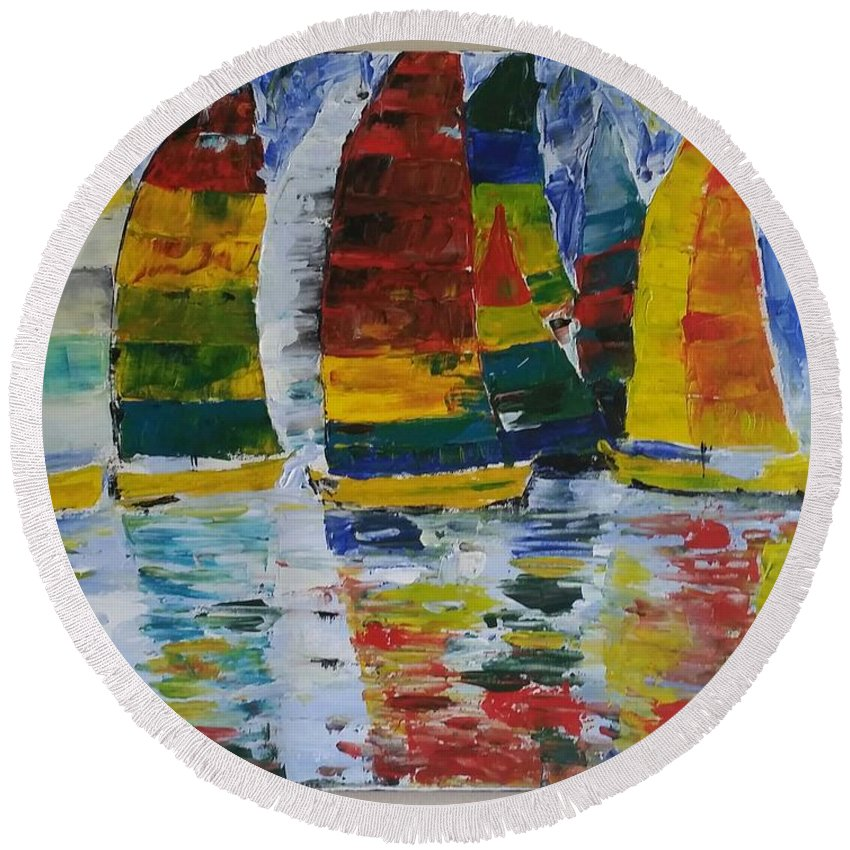 Abstract Art Round Beach Towel featuring the painting Sailing Away by Tayyaba Hafeez