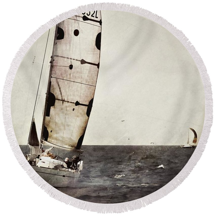 Marseille Round Beach Towel featuring the photograph Sailing Boat Nautical 5 by Jean Francois Gil